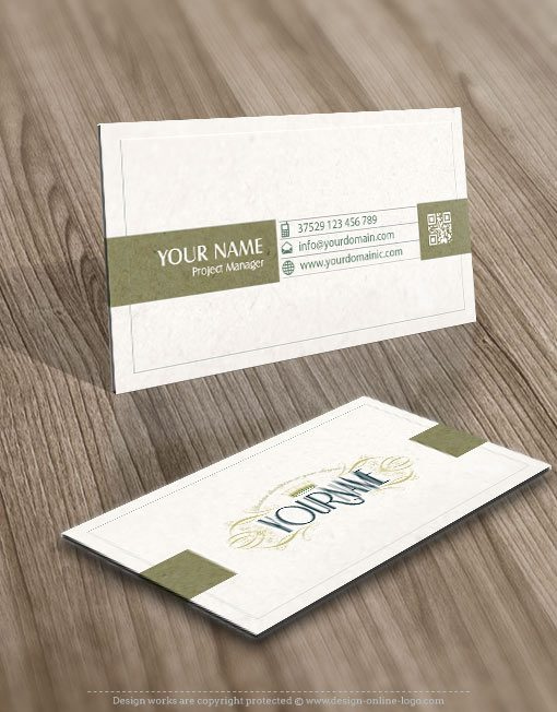 business-card logo design with CROWN Decorated frame