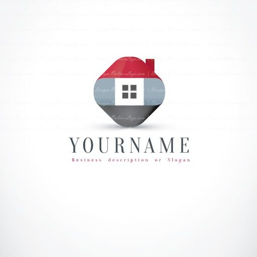 Ready hand made Real Estate Logo Design with symbol of 3D House