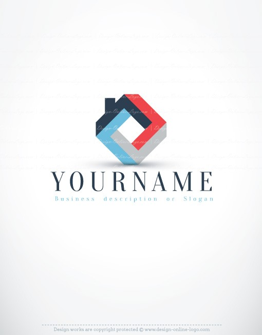 3D Real Estate Logo Exclusive Design Compatible FREE Business Card