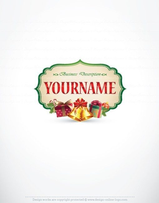 Logo design with Decorations and gifts of Christmas.
