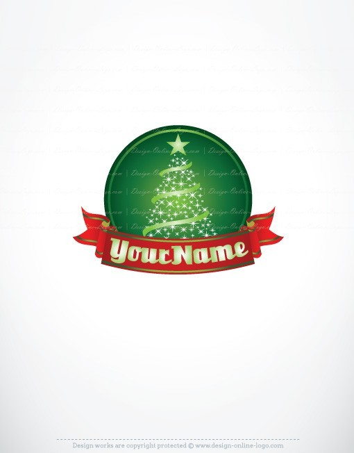 Christmas Logo design with Fir magic Tree