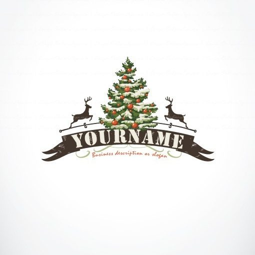 Vintage retro Logo design with Fir Tree of Christmas and a reindeer.