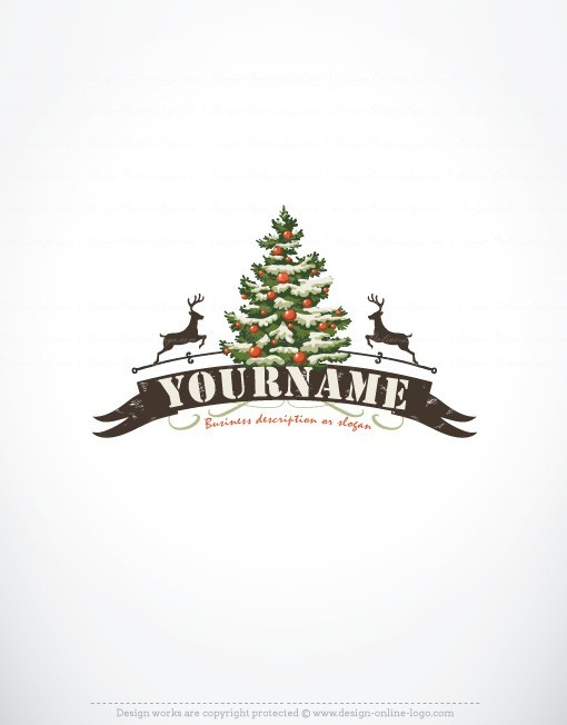 Vintage Retro Logo Design With Fir Tree Of Christmas And A Reindeer