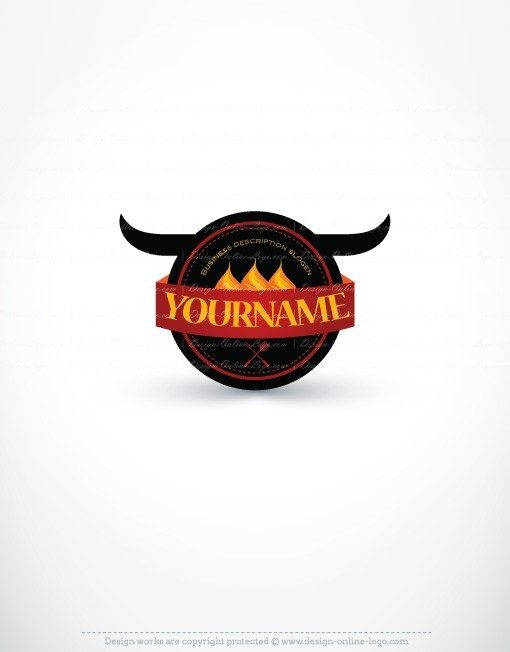 Logos Design Grill Bull logo FREE Business Card