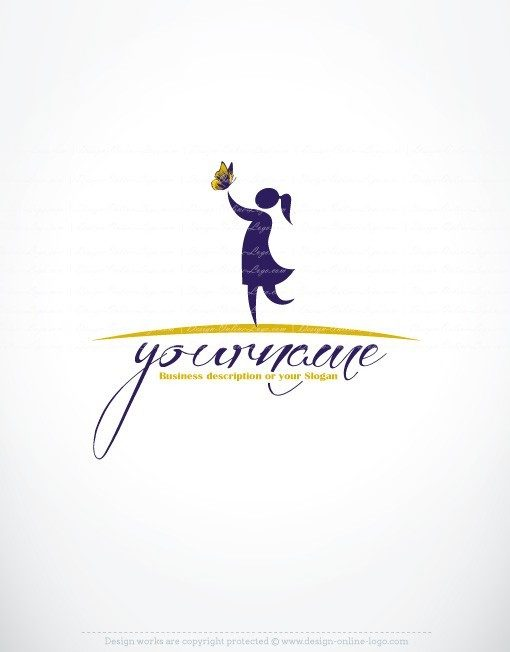 Ready made Logo Design with the symbol of Female woman girl and a Butterfly.