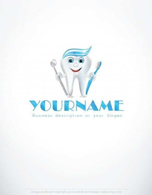 Dentistry Logo Design with symbol of white teeth toothbrush and tools the dentist