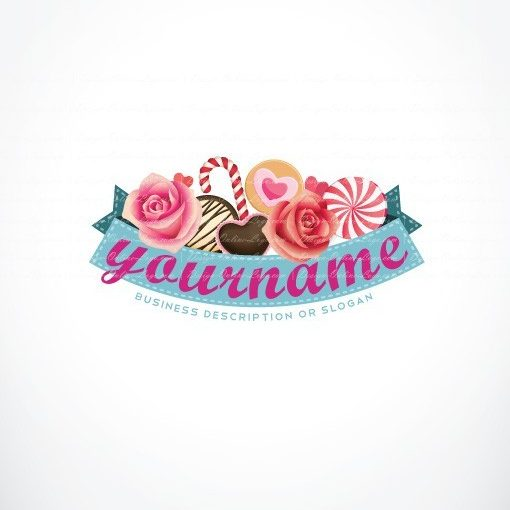 Sweet logo design with Lots of sweets, cookies and candies