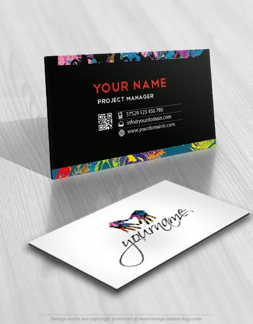 Ready Made Logo design template with logotype of Hands and splashes of color art