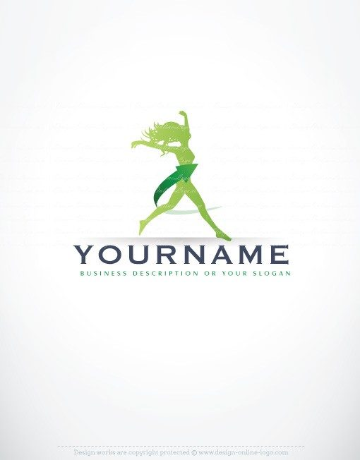 Ready made sport logo design template with the symbol of a woman Female Jumps