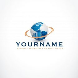 Real estate logo design with symbol of city urban buildings and a globe
