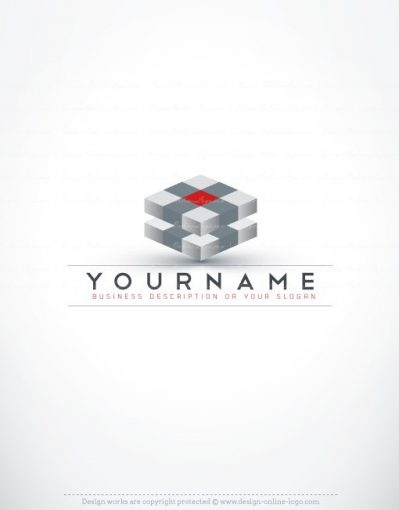 Ready made online Logo design with a high tech three-dimensional Cubes