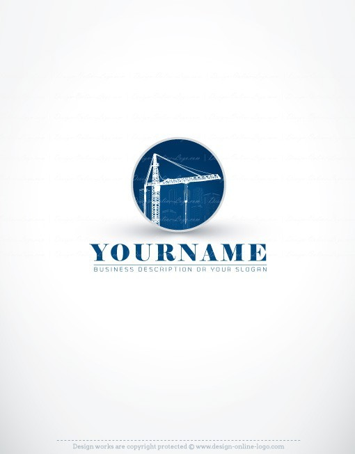 Ready made Construction Real Estate Logo Design with symbol of Buildings crane