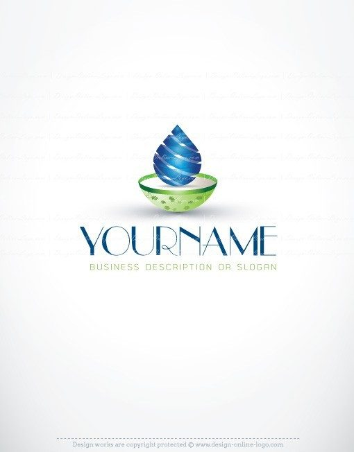 3D water drop Logo spa logo design online for sale