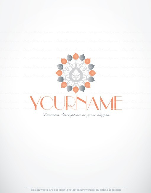 Ready made logo design combined with symbol of Salmon-colored flower.