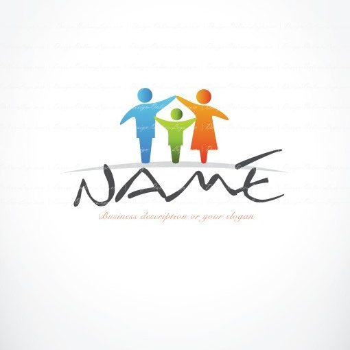 Online Ready hand made Logo designed with the symbol of colorful Family