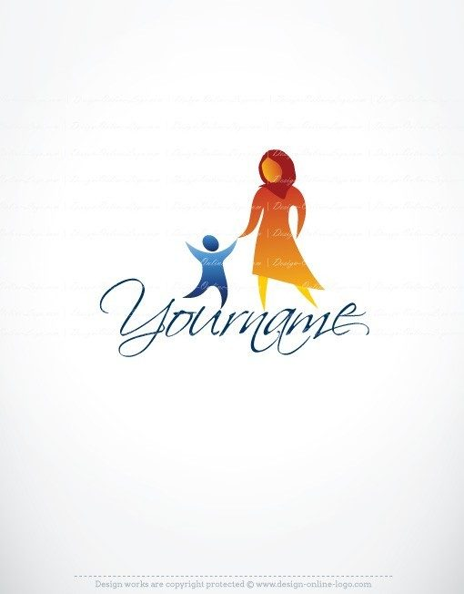 Online Ready made Logo design with the symbol of a religious woman with a headscarf and a child, it can be a Muslim mother wearing a Burqa or Orthodox Jewish mother