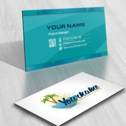 Exclusive Beach Travel Logo Design online FREE Business Card