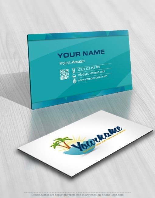 Exclusive design beach travel logo compatible free business card exclusive beach travel logo design online free business card reheart Images