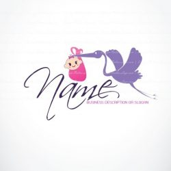 Online logo decorated with the symbol of a baby in a basket and a Stork