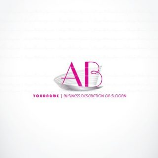 Ready hand made online Alphabet Logo design with glowing Pink initial letters logotype