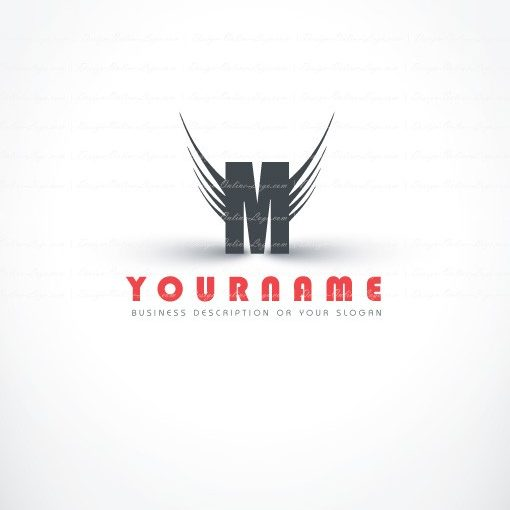 Online Ready hand made professional Logo design with your Alphabet initials and wings