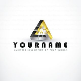 Online ready made Logo design with an three-dimensional triangle symbol and your Alphabet Initial