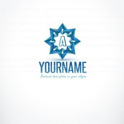Online ready made Logo design with 3D star, arrows symbol and your Alphabet Initial