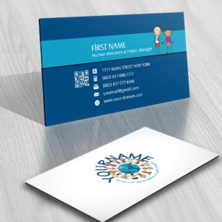 Online Logo design kids world Globe free business card