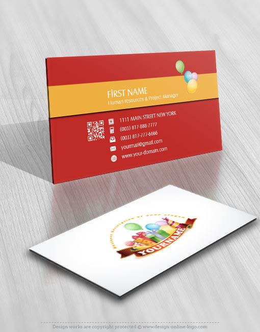 exclusive design kids birthday logo free business card - Kids Business Cards
