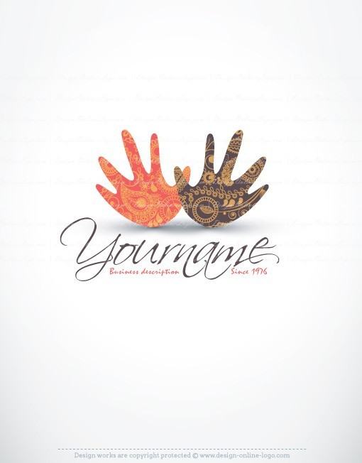Ready Made online Logo design with Hands and Ethnic art decorations.