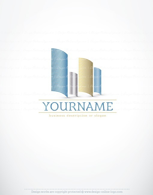 Online Ready made Real estate logo design with symbol of modern abstract buildings
