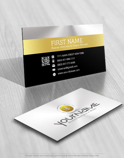 Golden initial Logo design business card