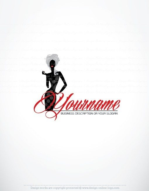 Online Logo designtemplate with symbol of a Female woman with Beautiful Hair