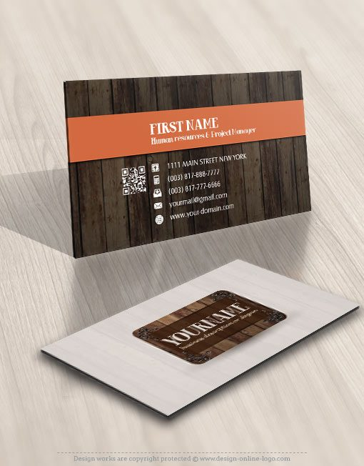 Logo design wood frame business card