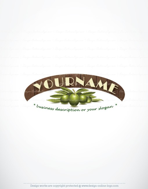 eady made logo design template with an olive branch and wood