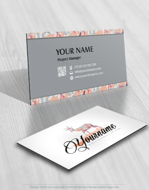 Exclusive design reindeer logo compatible free business card ready made logo design reindeer business card reheart Gallery