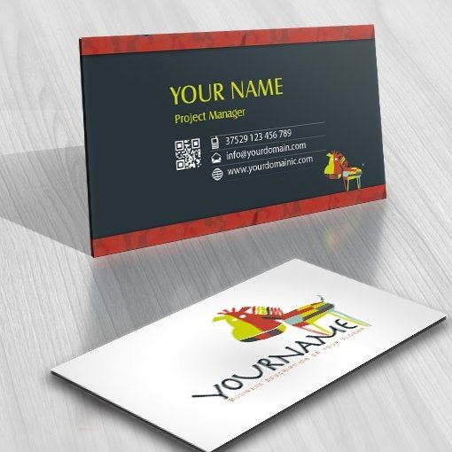 Colorful zebra Logo kids business card free