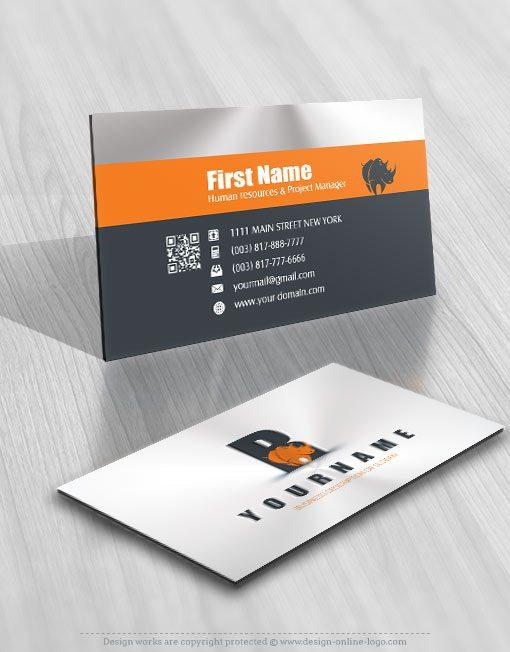 Exclusive Design Rhino Initial Logo Compatible Free Business Card