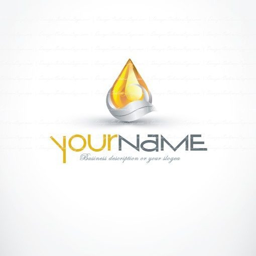 3D logo design with Clean abstract Water drop symbol in shades of silver and gold