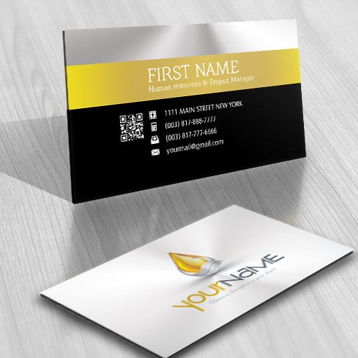 logo design Water drop silver and gold business card