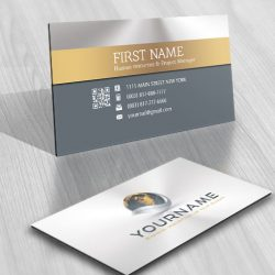 3D Bronze Globe Logo FREE Business Card