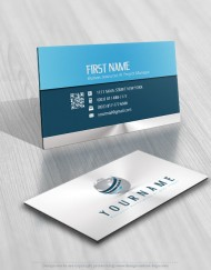 3D Logo design template with arrow and Globe business card free