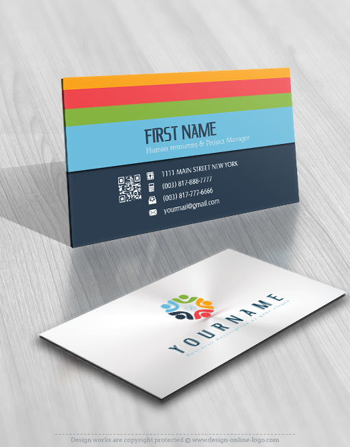 Exclusive Design: colorful people logo + Compatible FREE Business Card