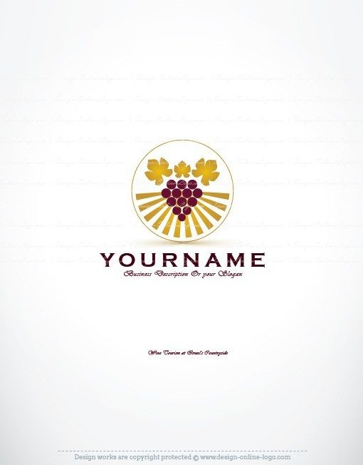 Luxury Ready made Logo design with a symbol of golden wine Grapes