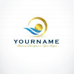 Online ready hand made Logo design with icon of Abstract water landscape and golden sun