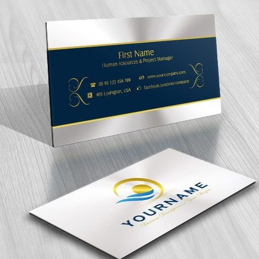 Abstract gold landscape logo FREE Business Card