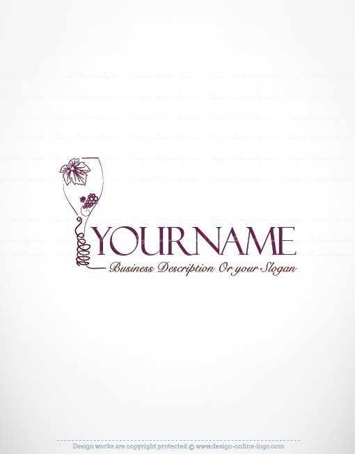 Ready made Logo design with a Glass of wine and grapes