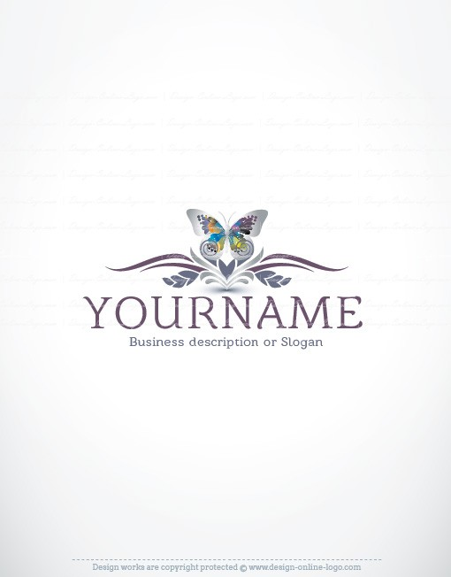 Ready made Butterfly logo design with silver and Purple decorations