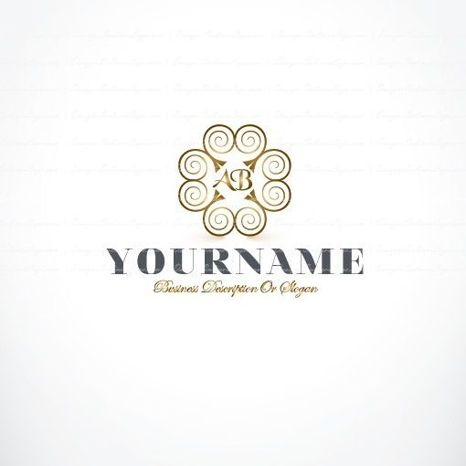 Ready Made online Alphabet Logo design with Elegant Curly decorations and your Alphabet Initial