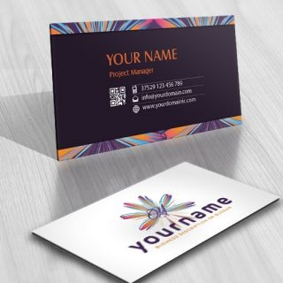 online Alphabet Logo design colorful flower business card